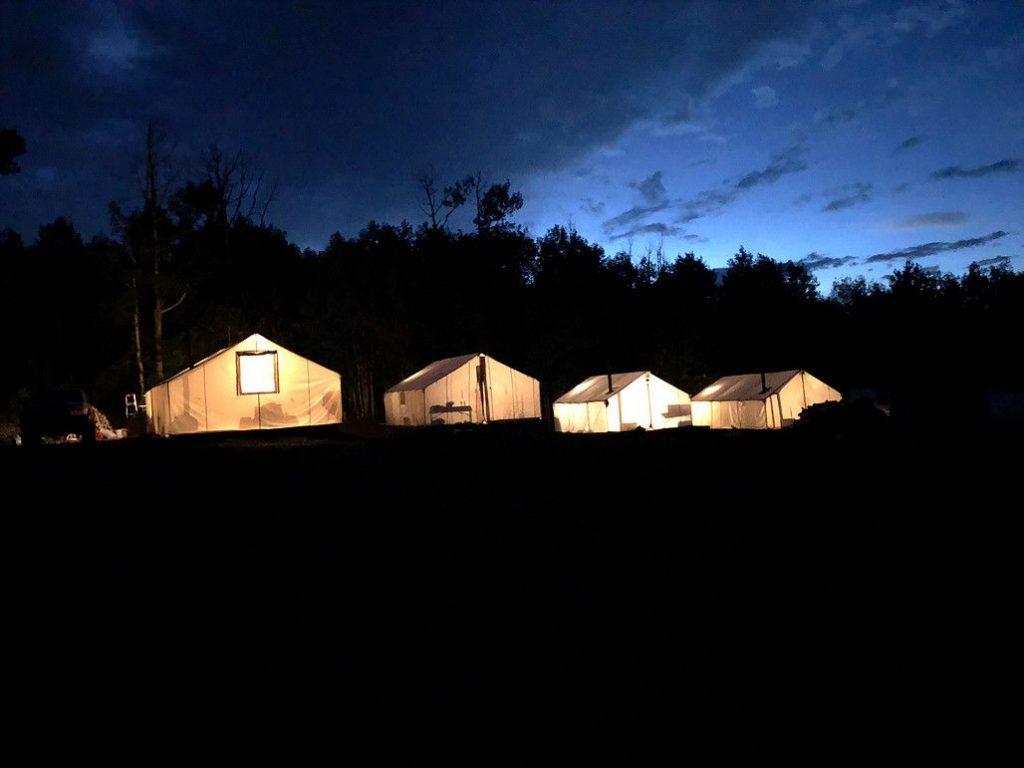Hunting camp at night