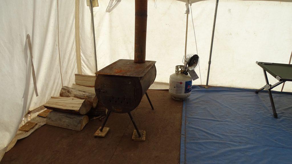 Inside camp tent